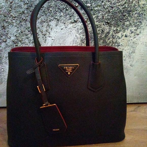 7ceca4f900c ... denmark prada red black double tote 65941 068b1